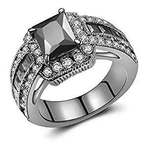 Jewelry Princess-Cut Created Black CZ Diamond Wedding Engagement Ring Set Black Gold Plated (8)