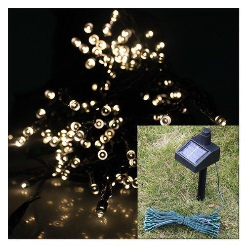AGPtek® Warm White Solar Power Fairy Light String for Indoor Outdoor Home Garden Christmas Party (55ft 100 LED, 2 Light Modes, Connectable Solar Panel)