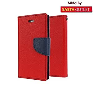 One Plus One Mercury Flip Wallet Diary Card Case Cover (Red) By Wellcare