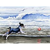 """Rat Terrier At The Beach"" Art Print Signed by Artist DJ Rogers"