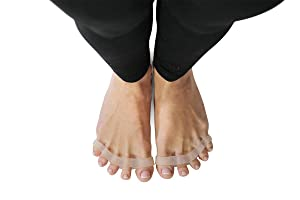 Toe Spreaders & Separators [official] Two Pairs in Stylish Wooden Box, Awesome Toes, Latex-Free Rubber Toe Stretchers Used for Nighttime, Yoga Practice & Running by YOGABODY