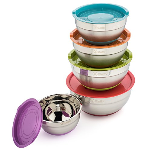 Cheffy Stainless Steel Mixing Bowls with Lids and Grater Attachments, Set of 5