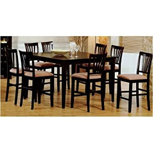 9pc Cappuccino Wood Counter Height Dining Table 8 Bar Stool