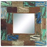 Wooden Reclaimed Mirror With Multi Colored & Textured Frame