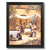 Spanish Flowers Cafe Mexican Landscape Home Decor Wall Picture Black Framed Art Print