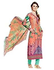 Orange Shaded Colour Cotton Semi Party Wear Digital Mughal Garden Inspired Print Pant Style Suit (Kimora) 5210
