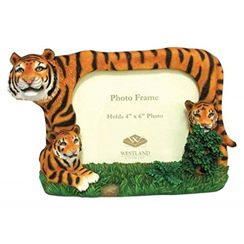 WL SS-WL-14756 Tiger Family Of Three Hiding In The Grass Picture Frame, 4