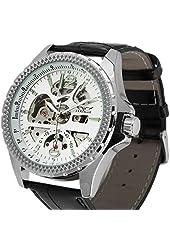 ESS Skeleton Black Leather Automatic Mechanical skeleton Watches Mens Man Swiss Design Army WM359