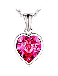 Peora Valentine Gift Pink Heart Autsrian Crystal Pendant + Free Chain (PFCP6PK)