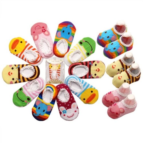 5 Pair LOCOMO Baby Infant Toddler Boy Girl Cartoon Animal Unisex Anti Slip Skid Socks / Age 1-3 Years Old / Size 9-15 cm / FBA012