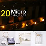 LIDORE Micro LED 20 Yellow String Lights with Timer, Battery Operated on 7.87ft Long Silver Color Ultra Thin Copper Wire