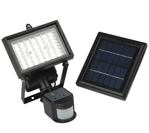 64 LED - Lithium Battery - Digital Adjustable --- MicroSolar Solar Motion Sensor Light --- Security Floodlight