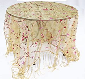 Sheer Silk Organza Embroidered Paisley Fringed Piano Shawl Table Topper Tablecloth Gold Pink