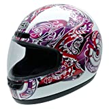 NZI 050003G584 Activy Psychomoto Elle Full Face Motorcycle Helmets, Motorcycle Illustration, White Background/ Violet Tones, XS
