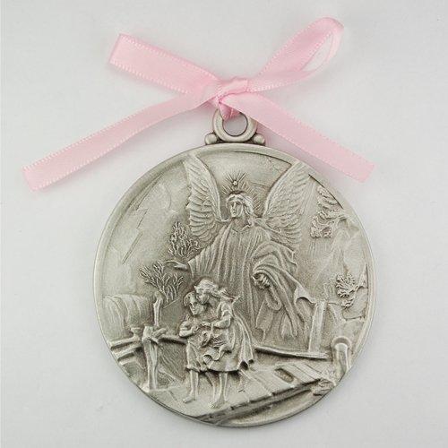Guardian Angel Crib Medal Pink Ribbon Round 2 3/4 Great Gift great baptism christening gift keepsake gift - 1