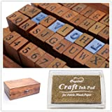 1 Set of 70pcs Vintage Style Wooden Rubber Alphabet Letters Number Stamps + 1 Golden Ink Pad