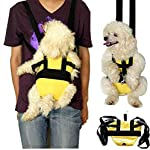 Calcifer@ Portable Durable Breathable Nylon fabric Cotton Legs Out Pet Dog Cat Puppy Front Travel Carrier Backpack Bag (Yellow, M)