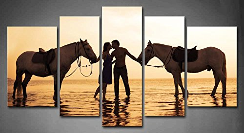 5 Panel Wall Art A Couple Fall In Love At Sunset In The Sea With Horse Painting Pictures Print On Canvas Animal The Picture For Home Modern Decoration Piece (Stretched By Wooden Frame,Ready To Hang)