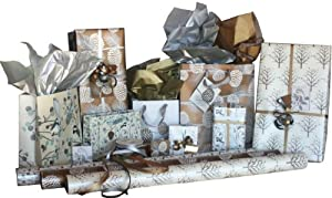The Gift Wrap Company Natural Elegance Wrap, Gift Bag, and Ribbon Assortment, 11-Count