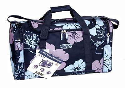 Ladies Holdall Hand Luggage Cabin Flight Beach Bag Gym Sports Maternity Womens Bag (Black/Flowers)