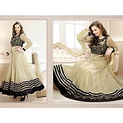 JJR Store Designer Beige Net Embroidered Dress material