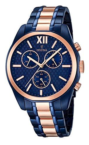 Festina Trend Reloj de hombre cronógrafo reloj de pulsera con correa de acero inoxidable f16857/1