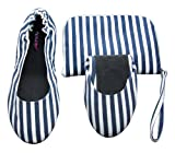 Ladies 1 Pair Tipsy Feet Nautical Blue Foldable Shoes - Extra Large (9/10) - Nautical Blue