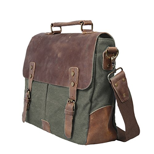 ECOSUSI Unisex Vintage Canvas Leather 14