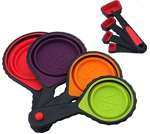 Collapsible portable Silicone Measuring Cups & Spoons 8-Piece