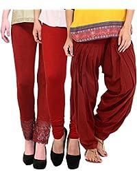Pi World Maroon Lace Legging Patiala Combo