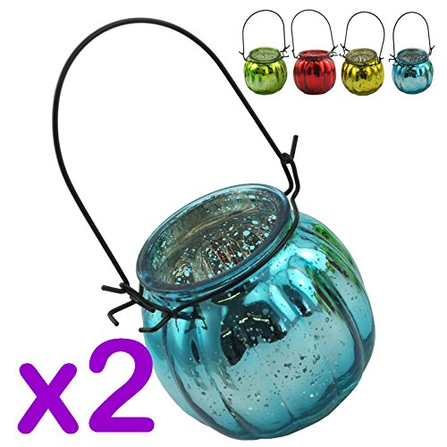 Garden Hanging Glass Tea Light Holder In 4 Colour With Wire Hanger (Blue, PACK OF 2)