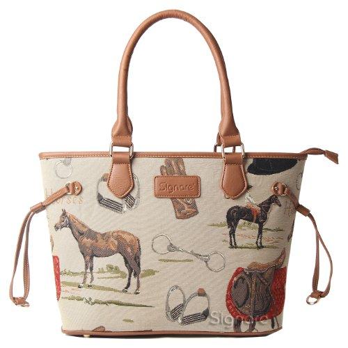 Borsa tote donna di Signare a spalla in tessuto stile arazzo alla moda Cavallo