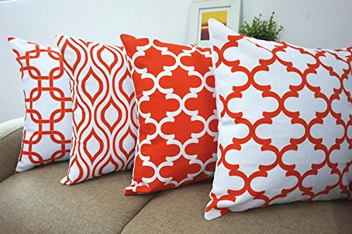 Howarmer® Canvas Cotton Orange Decorative Throw Pillows Covers Set of 4 --Geometric Quatrefoil,ogee,trellis Chain Accent Cushion Covers