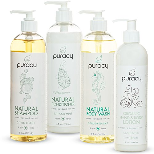 Puracy Natural and Organic Personal Care Set, Sulfate Free Body Wash, Shampoo, Conditioner, Body Lotion, Developed by Doctors, (Pack of 4) (Personal Shower compare prices)