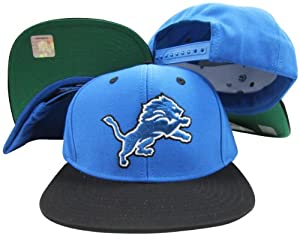 Detroit Lions Blue Black Two Tone Snapback Adjustable Plastic Snap Back Hat Cap by Reebok