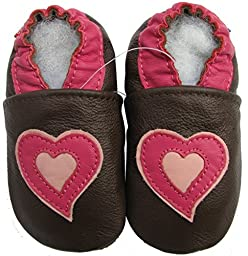 Carozoo baby girl soft sole leather infant toddler kids shoes Heart Brown 7-8y