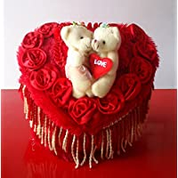 Red Heart Shaped Royal Plush Bed With Love Couple Teddy Bears