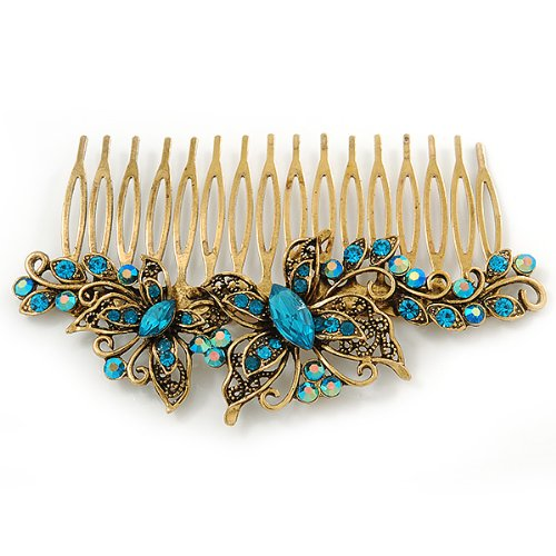Vintage Inspired Teal Blue Swarovski Crystal 'Butterfly' Side Hair Comb In Antique Gold Tone - 105mm 5