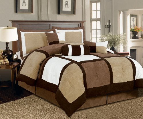 Textiles Plus 7-Piece Micro Suede Patchwork Bed-In-A-Bag Comforter Set, King, Brown/White front-222511