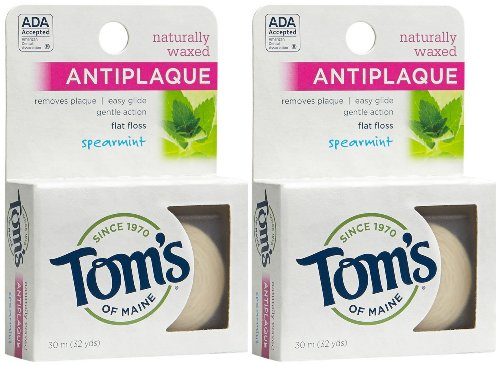 Tom S Of Maine Naturally Waxed Antiplaque Flat Floss Spearmint
