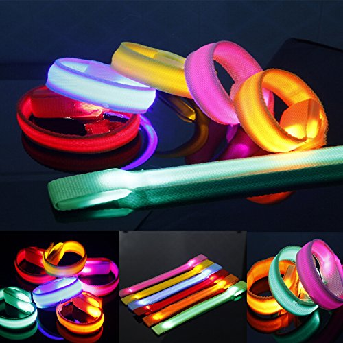 Led Light Up Glow Glowing Wristband Bracelet Disco Party Dance Bar 6 Colors