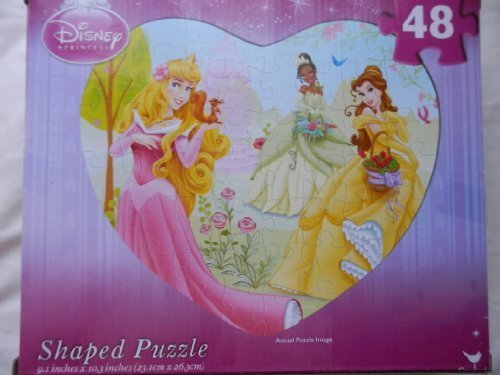 New Disney Princess Puzzle, 48 Piece Heart Shaped Puzzle - 1