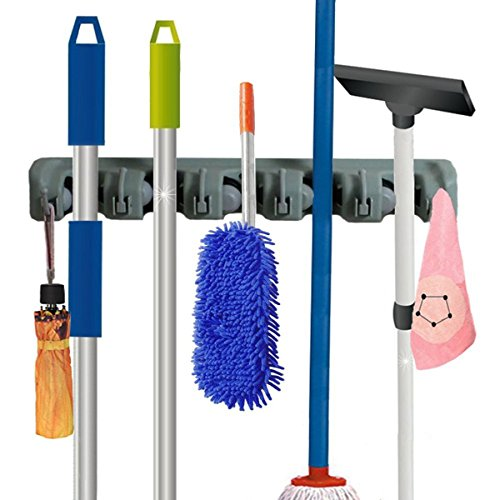 IBeaty Brush Broom and Mop Broom Holder 5 Ball Slots and 6 Hooks Storage Tidy Organiser Wall Rack Wall Mounted Garden Tool Storage Tool Rack Storage & Organization for garage shelving ideas (Broom Closet Shelf compare prices)