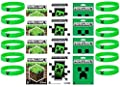 Minecraft Party Bag Fillers - 12 Official Minecraft Creeper Wristbands and 12 Official Mine Craft Stickers by Minecra