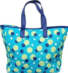 Quilted Tote Bag - Aqua Dots - By Threadart by Threadart