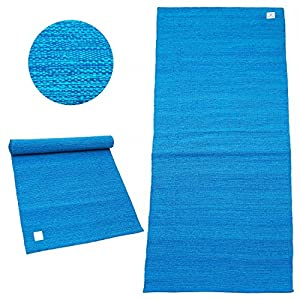 Baumwoll-Yogamatte »Rama« / 100% Baumwolle / 195cm x 69cm / Malediven-Blau