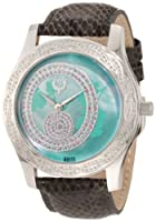 Brillier Women's 03-41626-01 Kalypso Green Dial Puprle Snakeskin Watch from Brillier