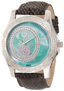Brillier Women's 03-41626-01 Kalypso Green Dial Puprle Snakeskin Watch from Brillier