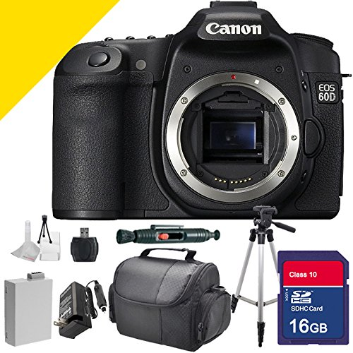 Canon EOS 60D Body Only with Full Size Tripod, Memory Card, Camera Case, Extra Battery, Extra Charger, Lens and Sensor Cleaning Kit and More