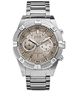 GUESS Men's W0377G1 Silver-Tone Chronograph Watch Mink Dial